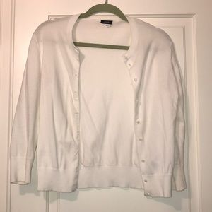 White Jcrew button up cardigan